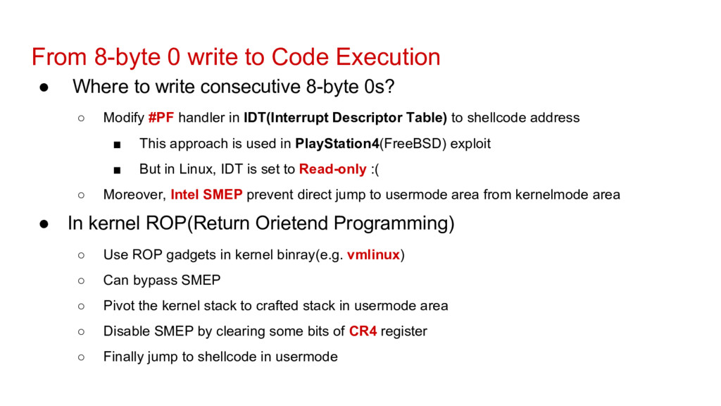 From 8-byte 0 write to Code Execution ● Where t...