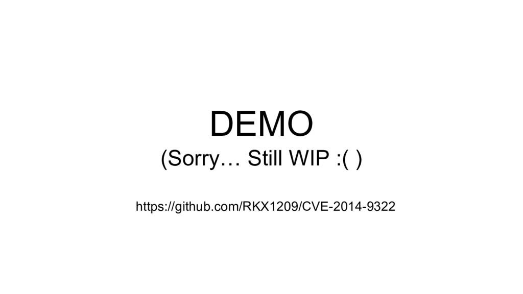 DEMO (Sorry… Still WIP :( ) https://github.com/...