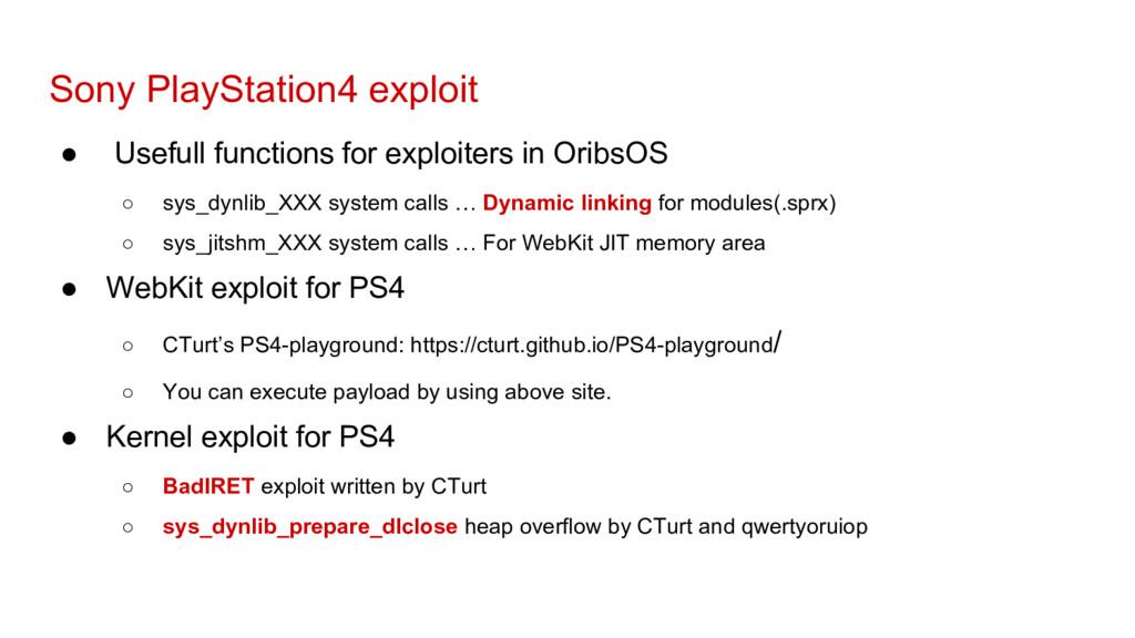 Sony PlayStation4 exploit ● Usefull functions f...