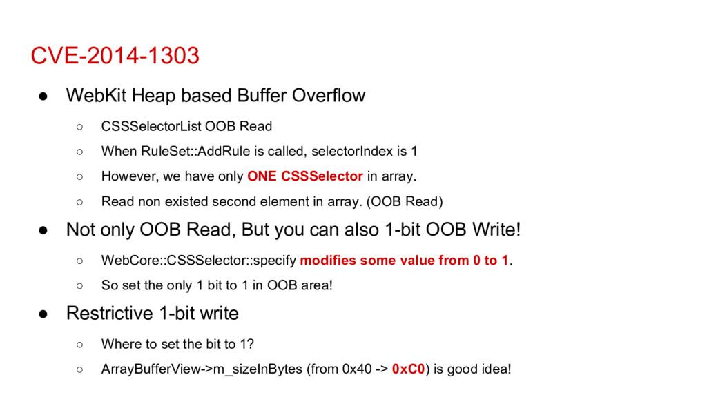 CVE-2014-1303 ● WebKit Heap based Buffer Overfl...
