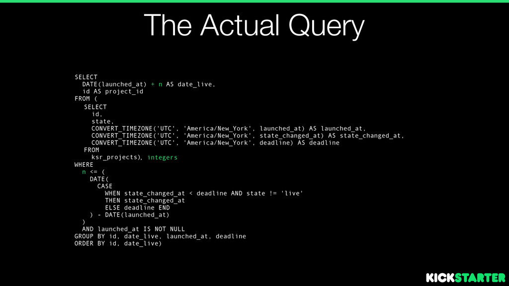 The Actual Query SELECT id, state, CONVERT_TIME...