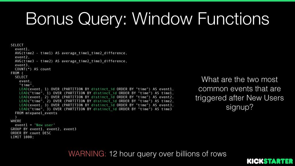 Bonus Query: Window Functions SELECT event1, AV...