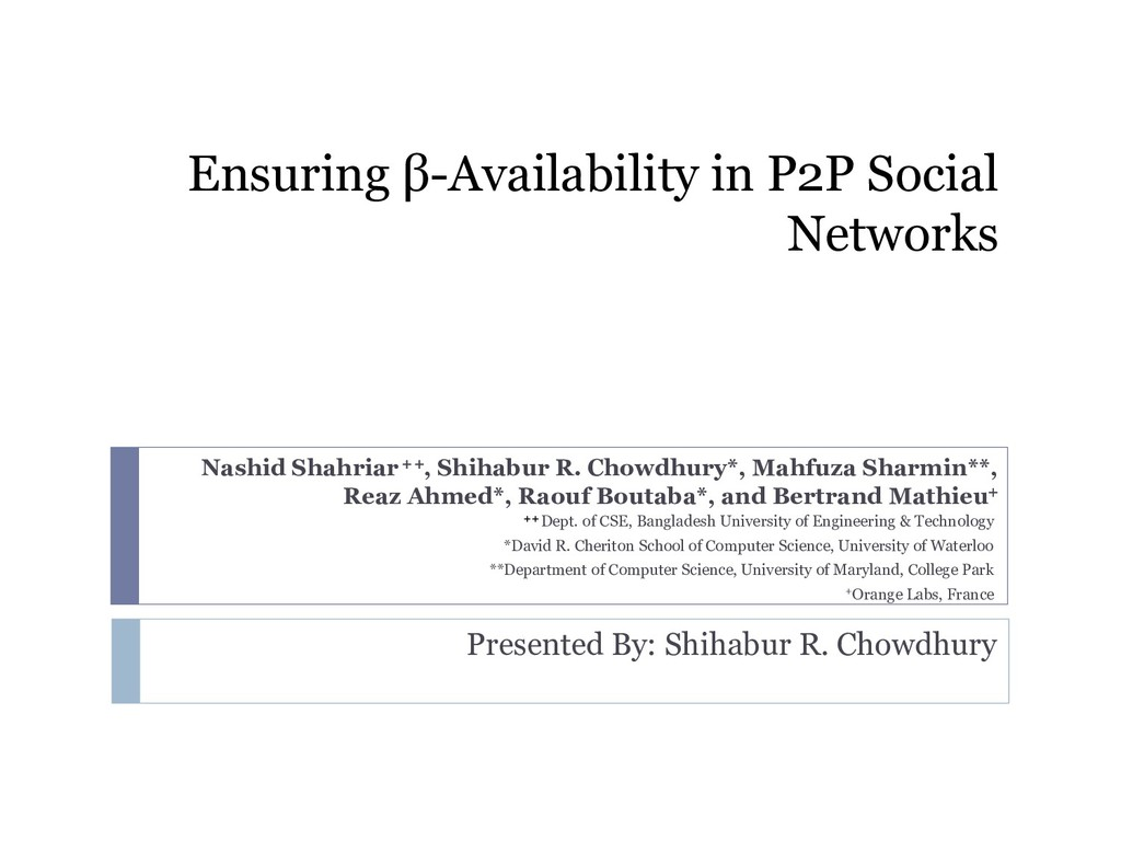 Ensuring β-Availability in P2P Social Networks ...