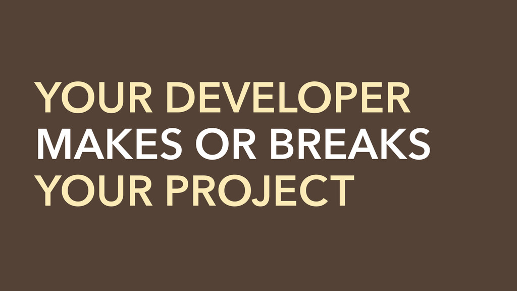 YOUR DEVELOPER MAKES OR BREAKS YOUR PROJECT