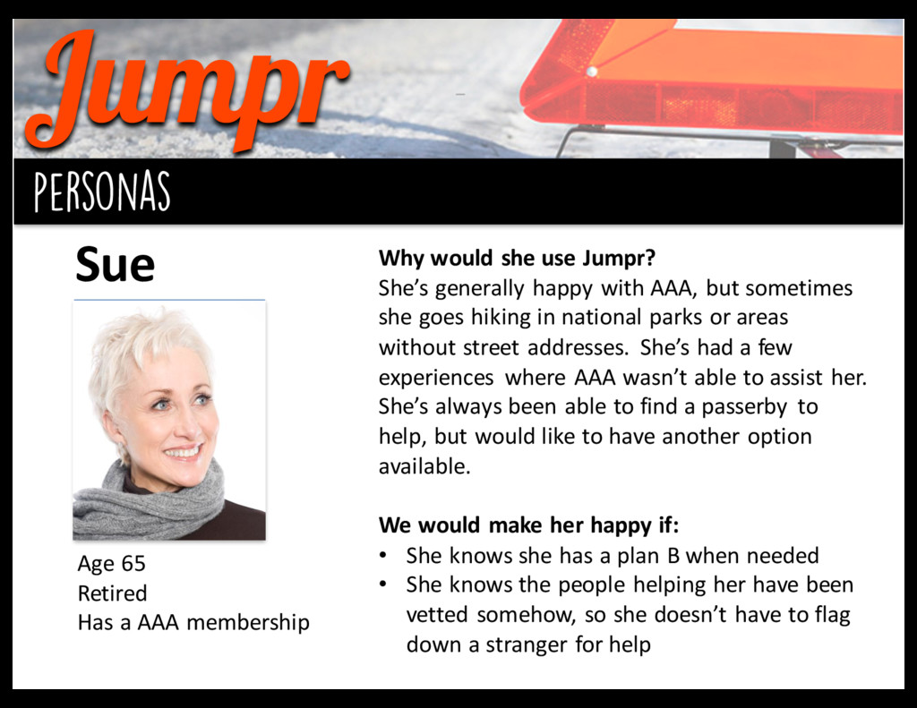 Jumpr background personas Sue Age 65 Retired...