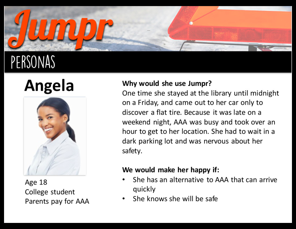 Jumpr background personas Angela Age 18 Coll...
