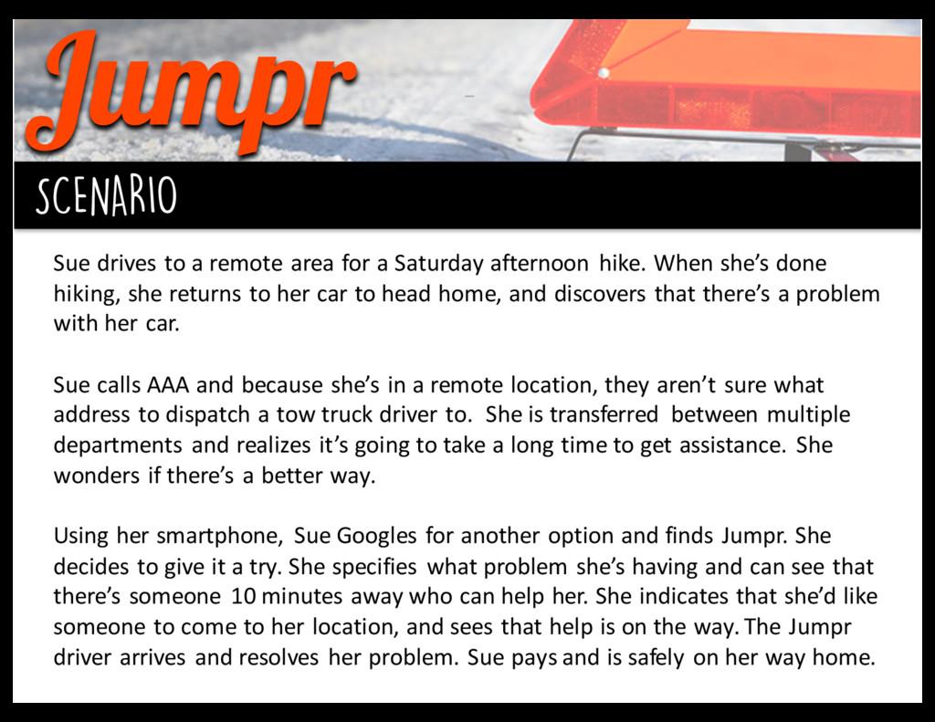 Jumpr background SCENARIO Sue drives to...