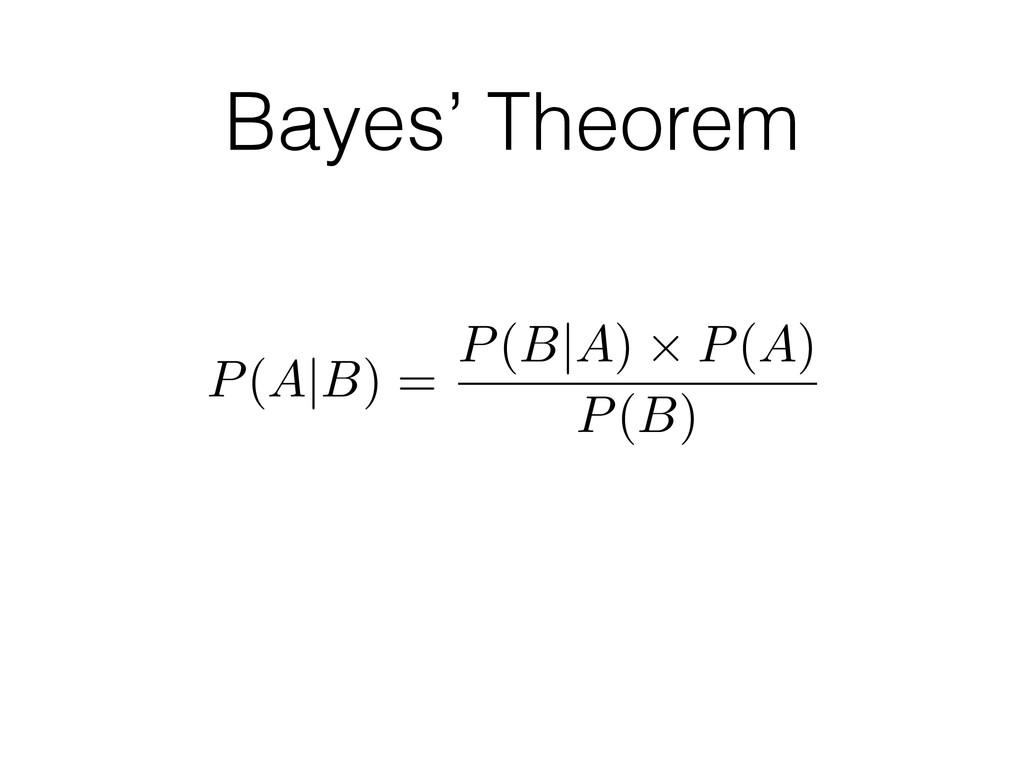 P(A B) = P(B A) ⇥ P(A) P(B) Bayes' Theorem