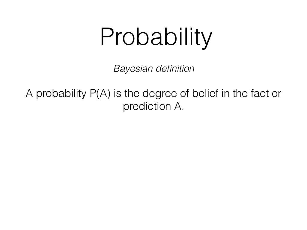 Probability Bayesian definition A probability P(...