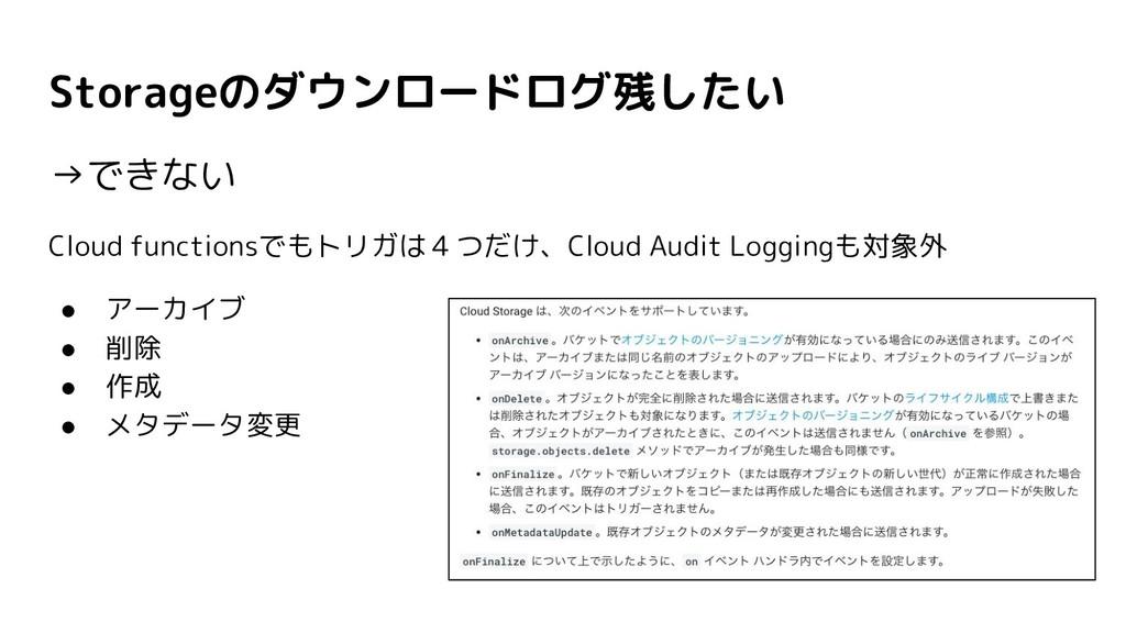 Storageのダウンロードログ残したい →できない Cloud functionsでもトリガ...