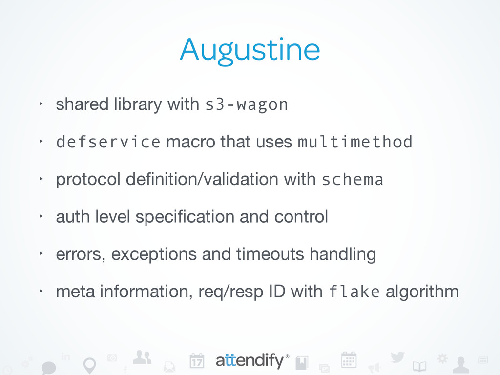 Augustine ‣ shared library with s3-wagon  ‣ def...