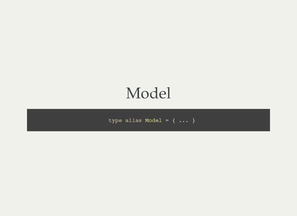 Model t y p e a l i a s M o d e l = { . . . }