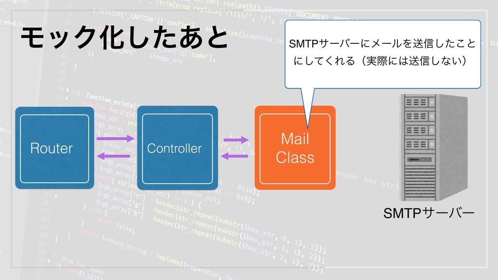 ϞοΫԽͨ͋͠ͱ Router Controller SMTPαʔόʔ Mail Class ...