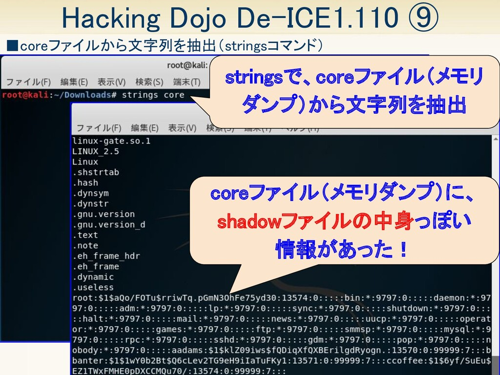 35 Hacking Dojo De-ICE1.110 ⑨ ■coreファイルから文字列を抽...