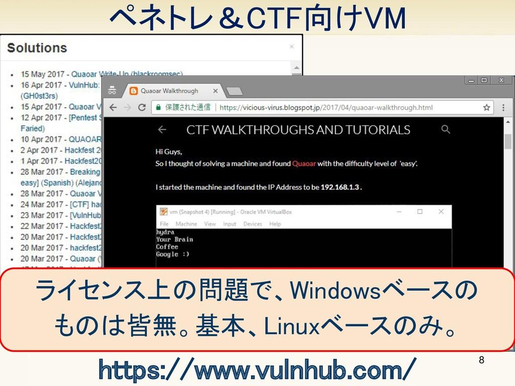 8 https://www.vulnhub.com/ ライセンス上の問題で、Windowsベ...