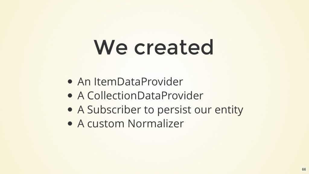 We created An ItemDataProvider A CollectionData...