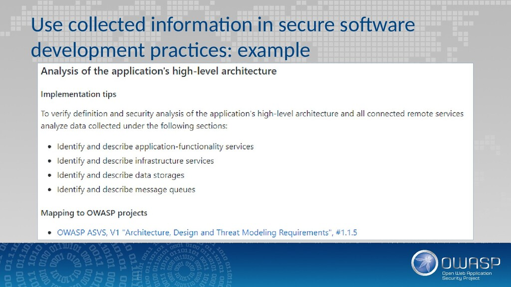 Use collected information in secure software de...