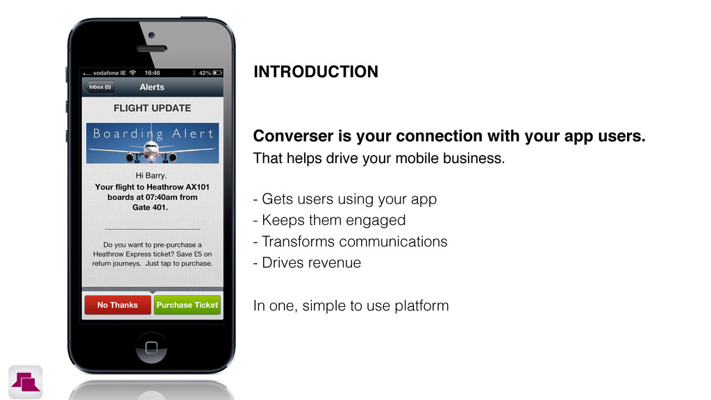 Converser is your connection with your app user...