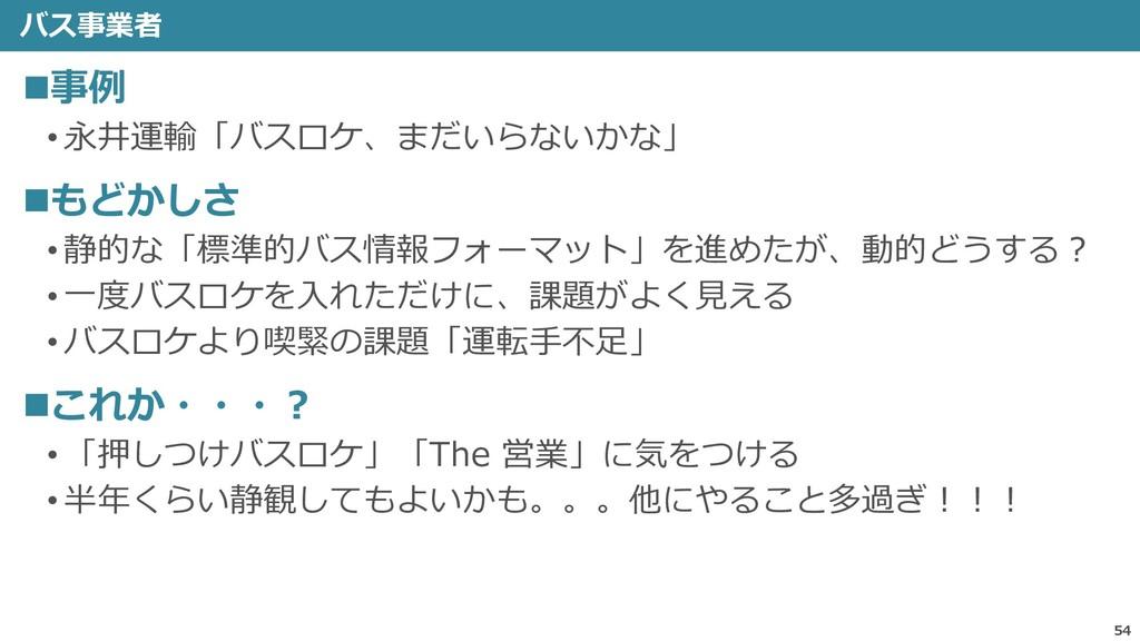 バス事業者 54 ◼事例 • 永井運輸「バスロケ、まだいらないかな」 ◼もどかしさ • 静的な...