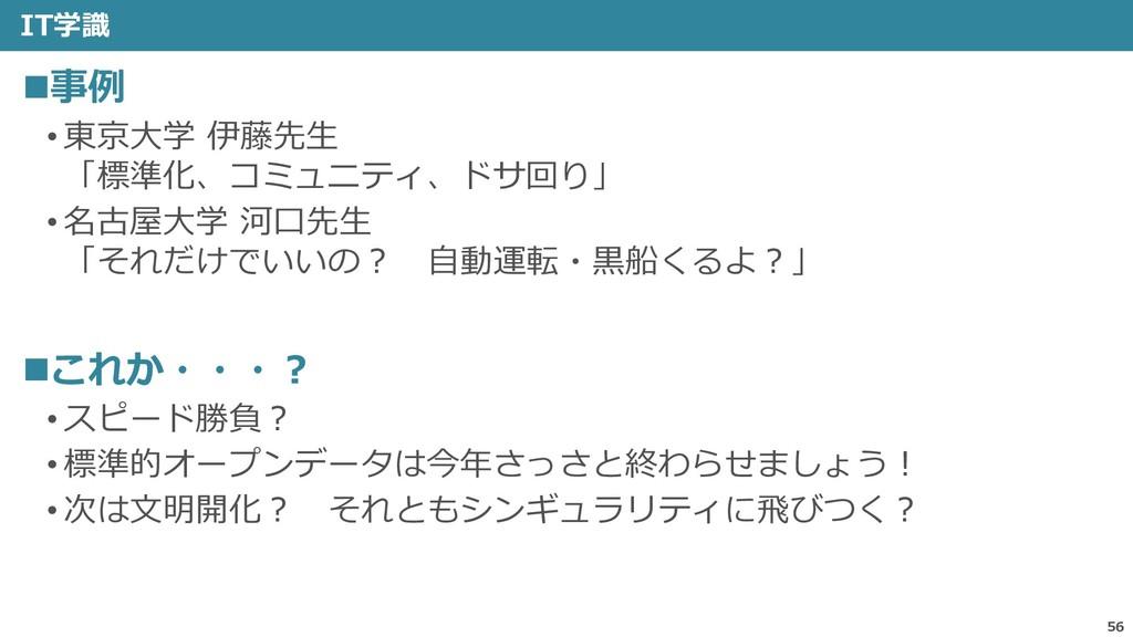 IT学識 56 ◼事例 • 東京大学 伊藤先生 「標準化、コミュニティ、ドサ回り」 • 名古屋...