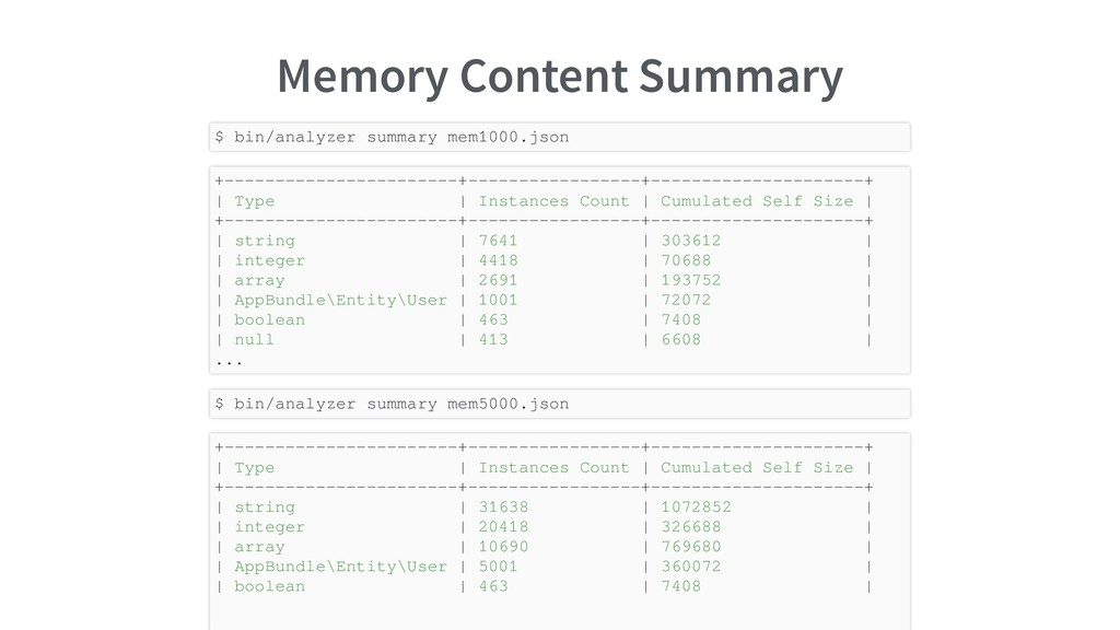 Memory Content Summary $ bin/analyzer summary m...
