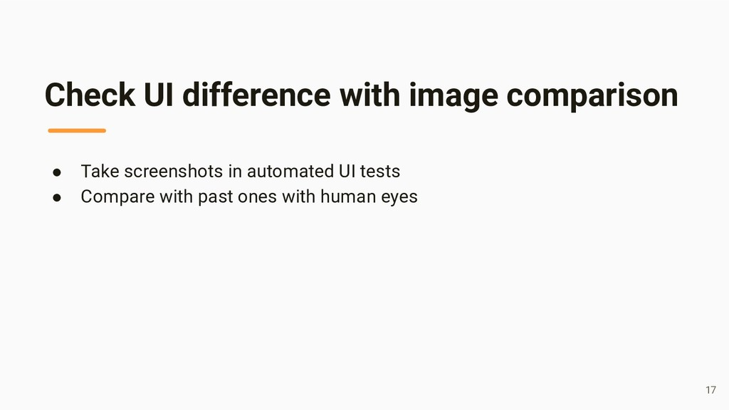 Check UI difference with image comparison ● Tak...