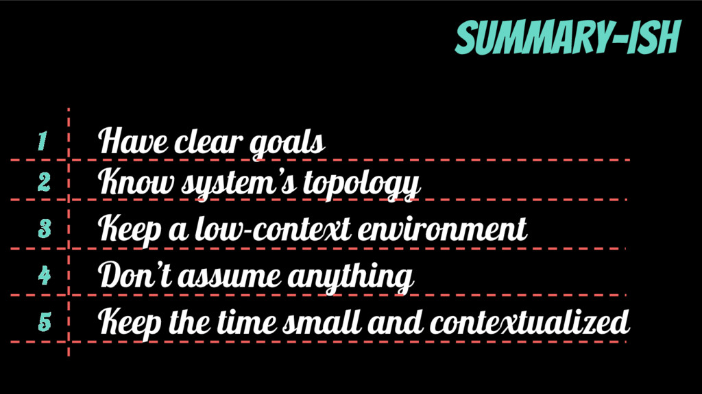 1 2 3 4 Have clear goals Know system's topology...