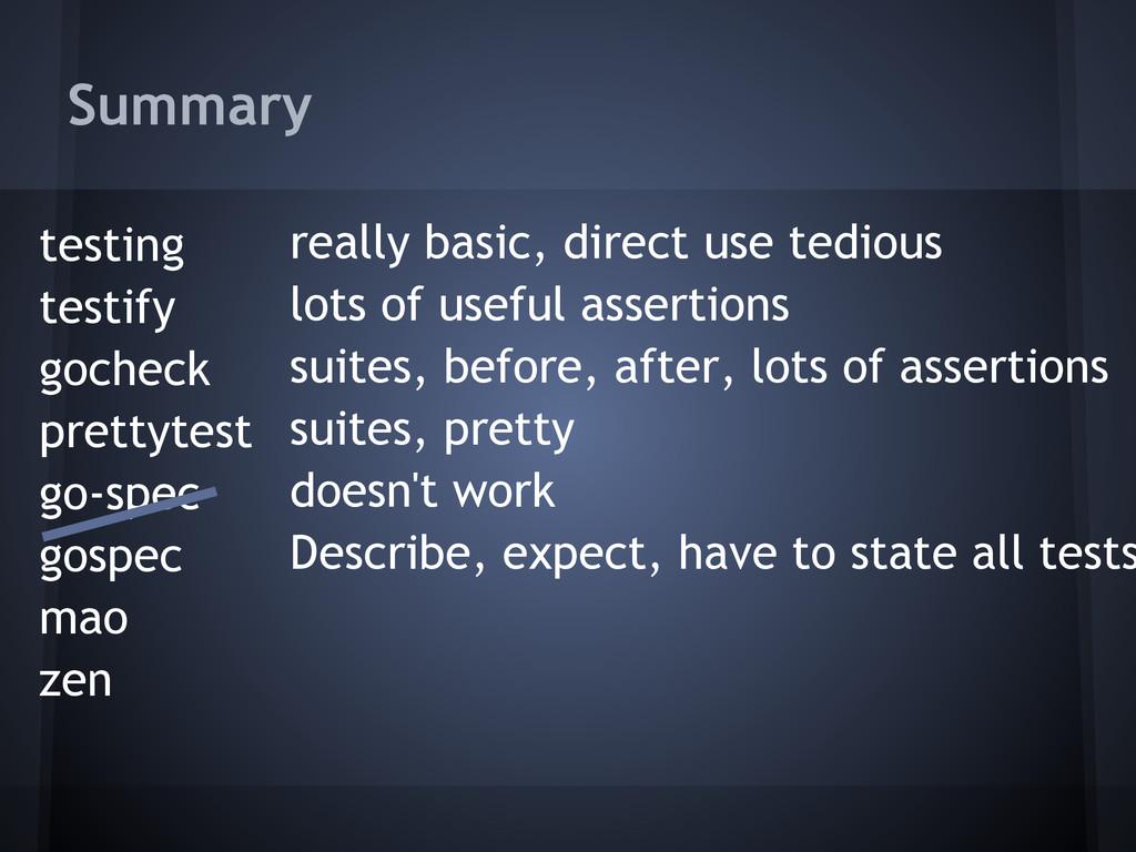 Summary testing testify gocheck prettytest go-s...