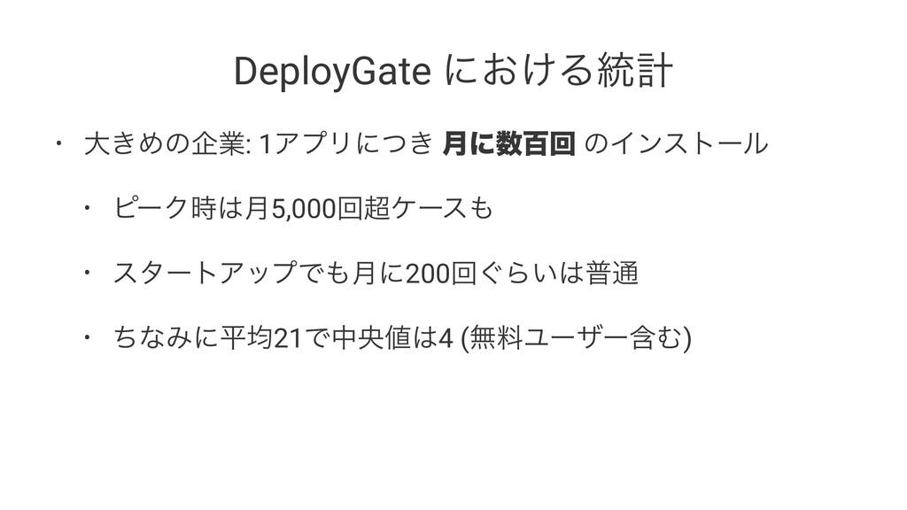 DeployGate ʹ͓͚Δ౷ܭ • େ͖Ίͷاۀ: 1ΞϓϦʹ͖ͭ ݄ʹඦճ ͷΠϯετ...