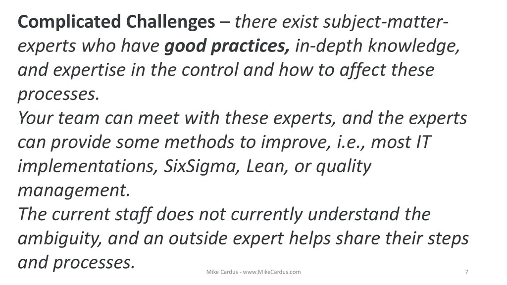 Complicated Challenges – there exist subject-ma...