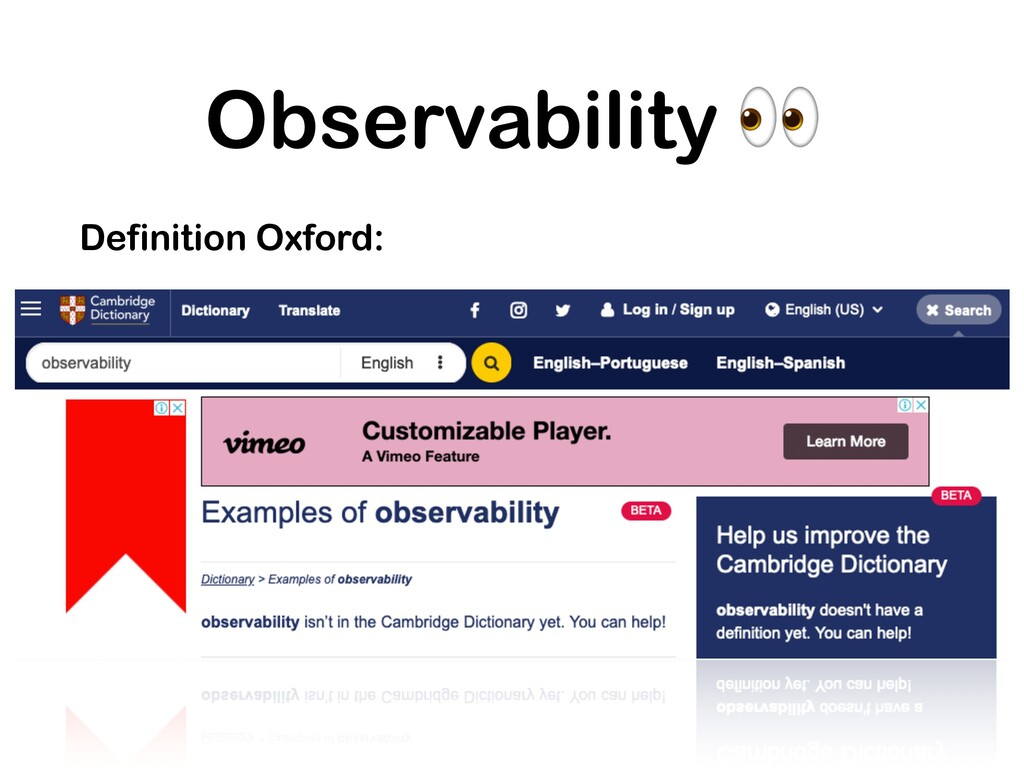 Observability  Definition Oxford: