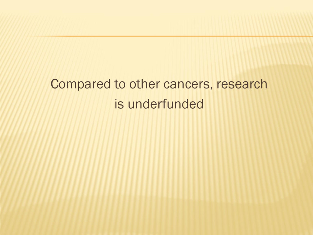 Compared to other cancers, research is underfun...