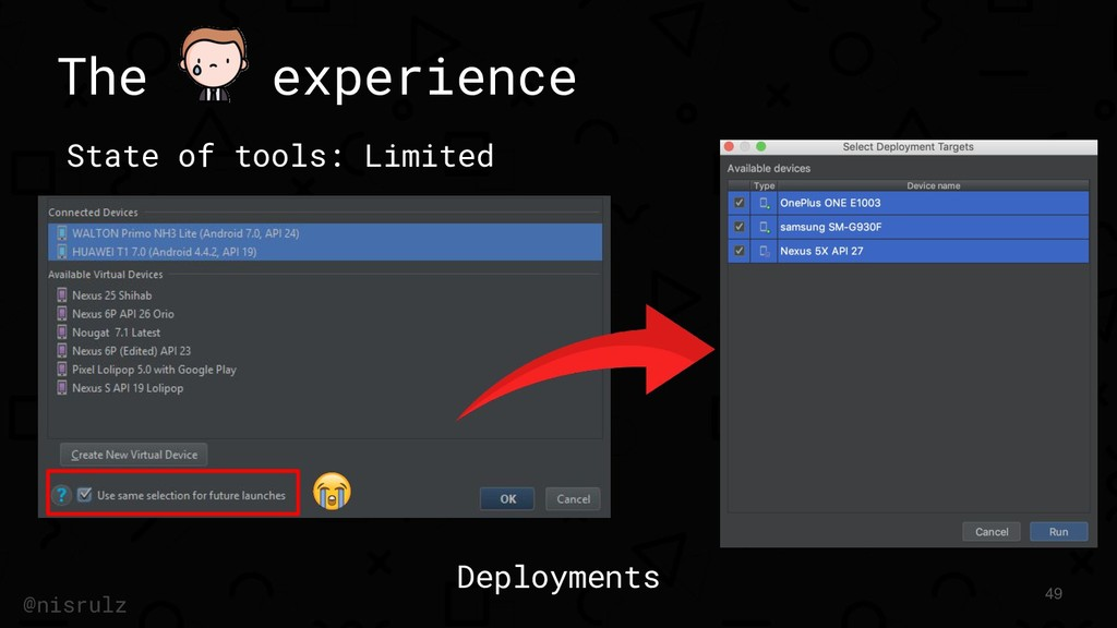 The experience State of tools: Limited 49 @nisr...