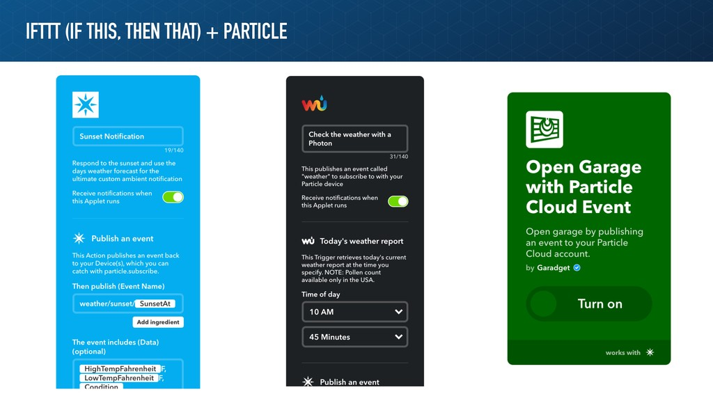 IFTTT (IF THIS, THEN THAT) + PARTICLE