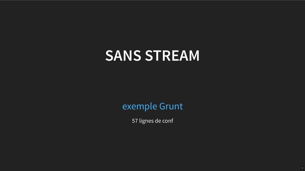 SANS STREAM 57 lignes de conf exemple Grunt 9