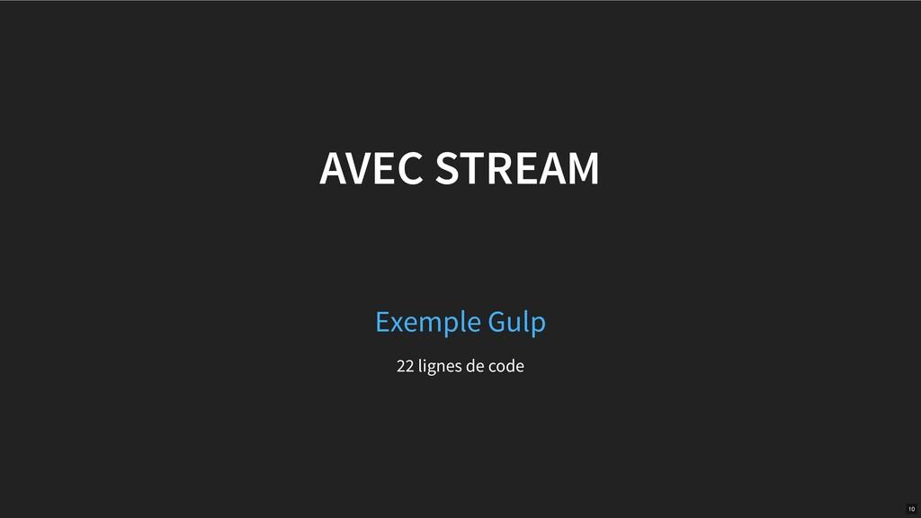 AVEC STREAM 22 lignes de code Exemple Gulp 10