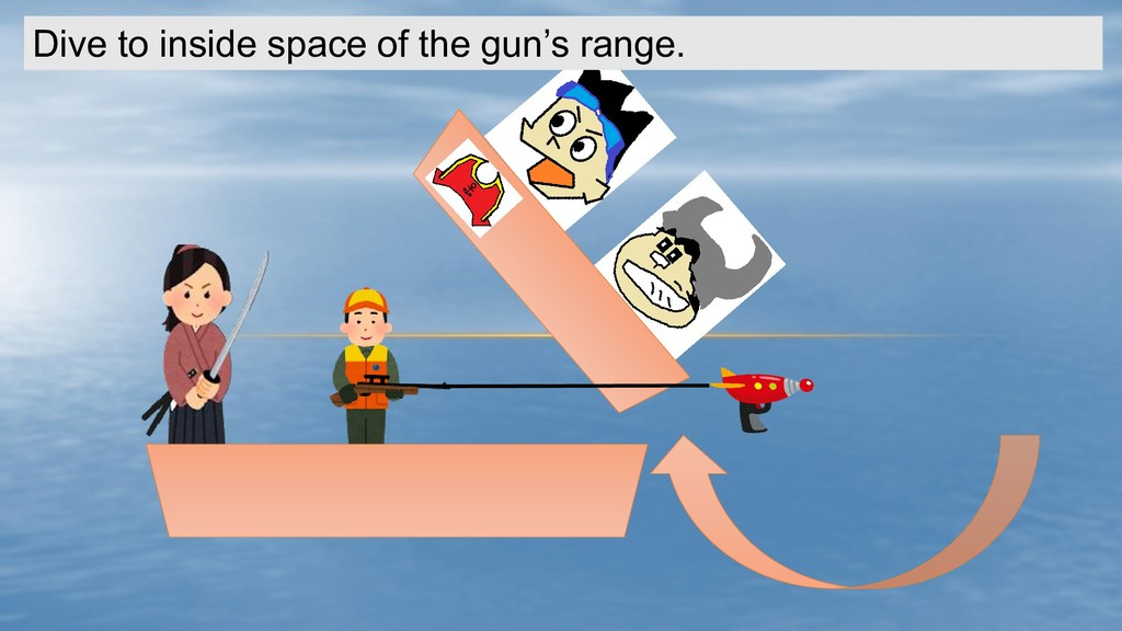Dive to inside space of the gun's range.