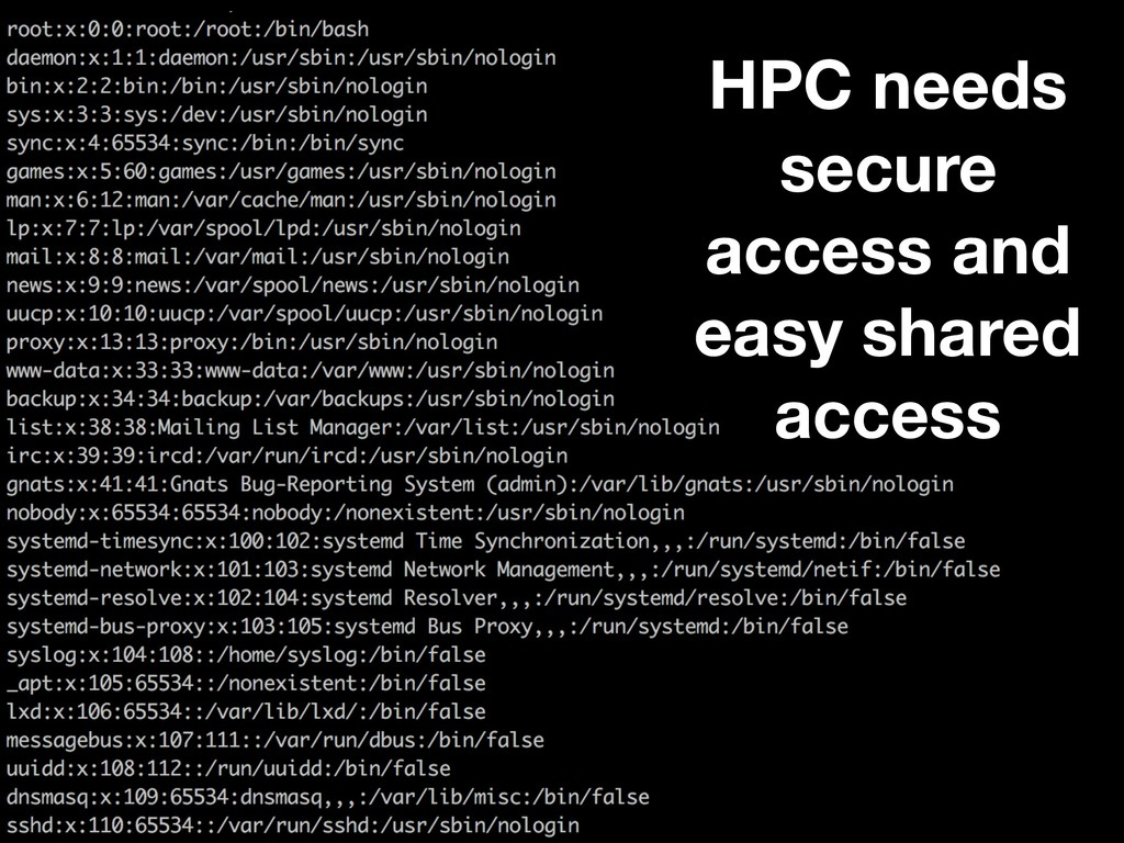 HPC needs secure access and easy shared access