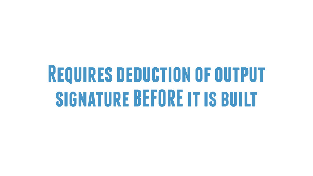 Requires deduction of output signature BEFORE i...
