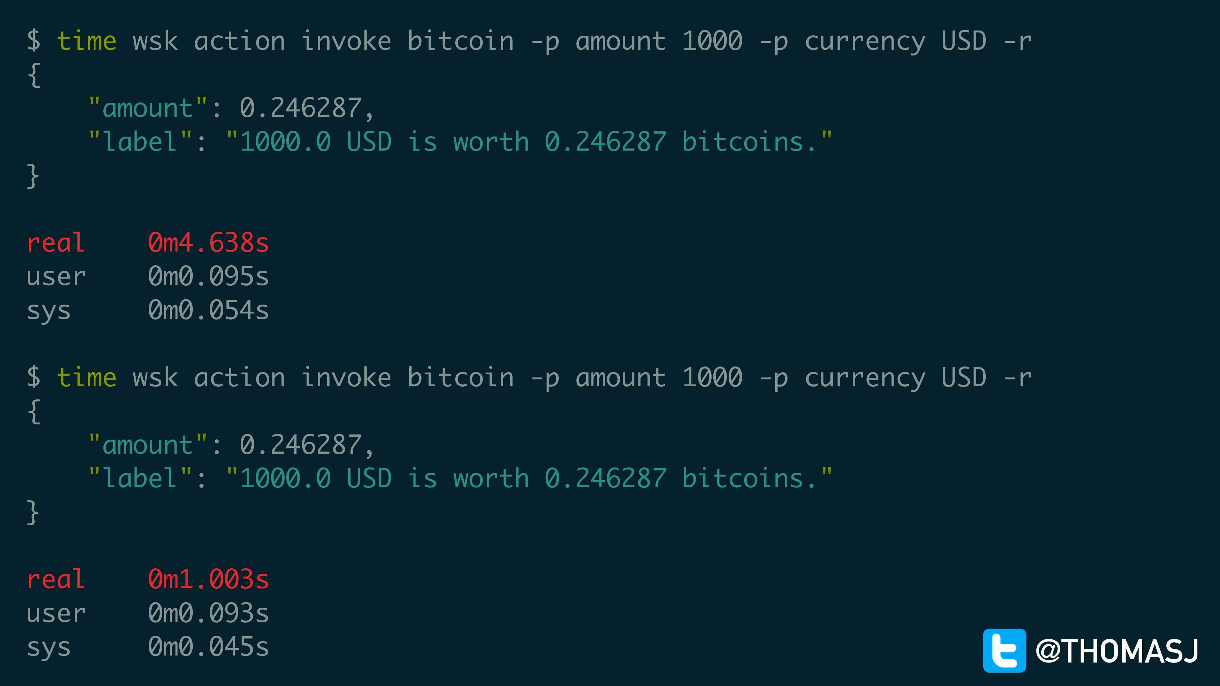 $ time wsk action invoke bitcoin -p amount 1000...