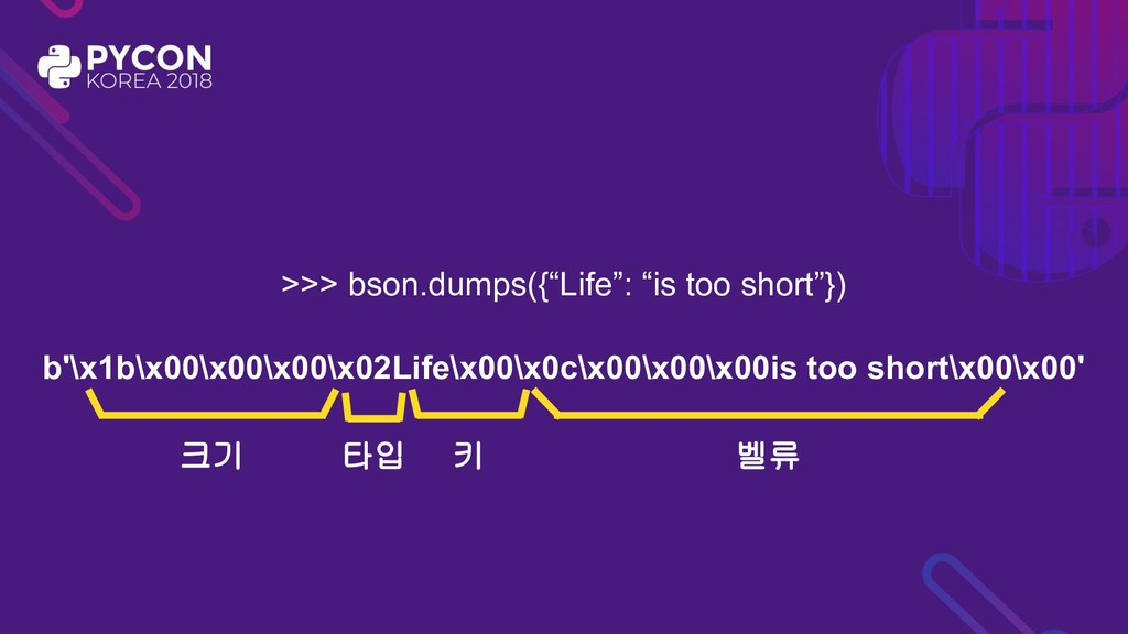 ">>> bson.dumps({""Life"": ""is too short""}) b'\x1b..."
