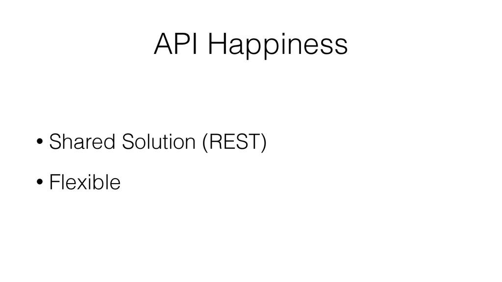 API Happiness • Shared Solution (REST) • Flexib...