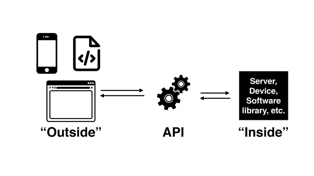 "API ""Outside"" Server,! Device,! Software librar..."