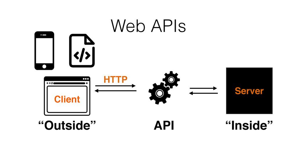 """API """"Outside"""" Server """"Inside"""" Web APIs HTTP Cli..."""
