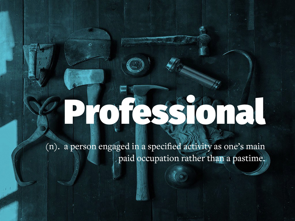 Professional (n). a person engaged in a specifie...