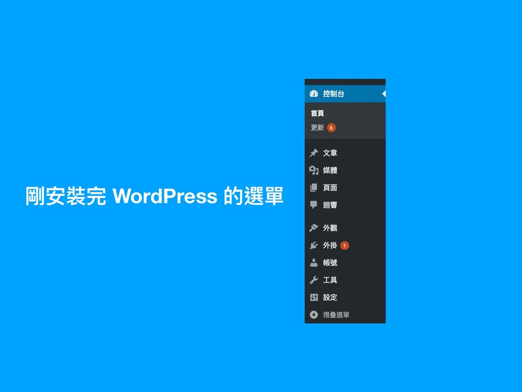 剛安裝完 WordPress 的選單