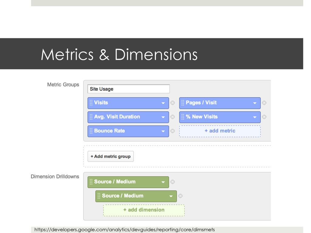 Metrics & Dimensions https://developers.google....
