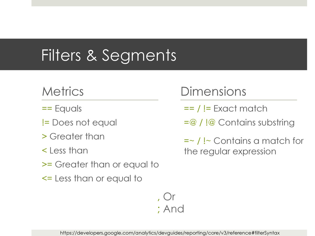Filters & Segments Metrics == Equals != Does no...