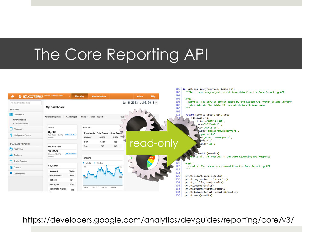 The Core Reporting API https://developers.googl...